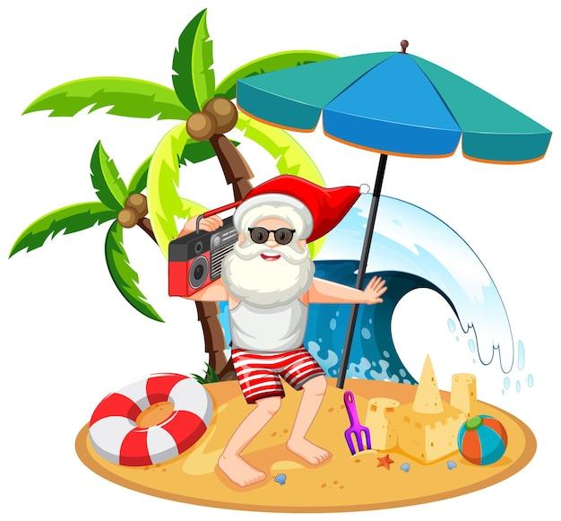 Papai noel na ilha da praia para o verão de natal