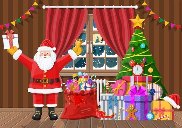 Papai noel na sala com árvore de natal e presentes. cena de feliz natal