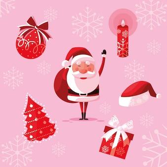 Papai noel natal com ícones conjunto