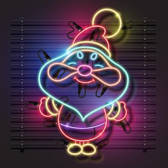 Papai Noel neon design.
