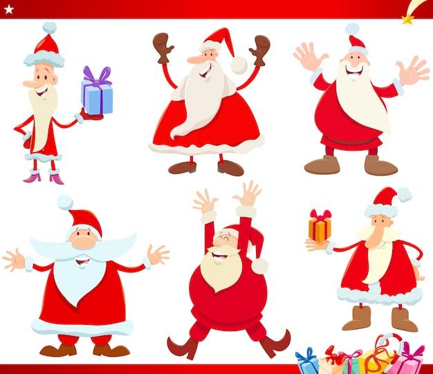 Papai noel no conjunto de desenhos animados de tempo de natal