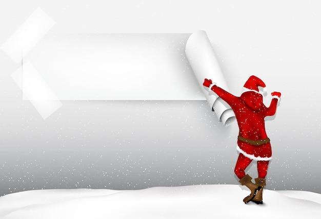 Papai noel no inverno, noite de natal.