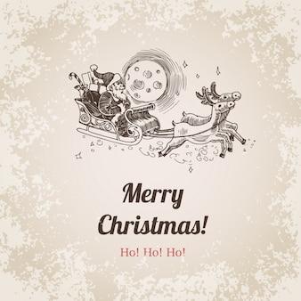 Papai noel no trenó com ilustração em vetor vintage alces. feliz ano novo e feliz natal mão desenhada estilo de gravura