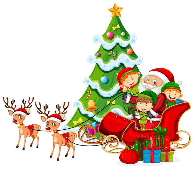 Papai noel no trenó com renas e muitas crianças usam fantasias de elfo em fundo branco