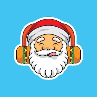 Papai noel ouvindo música hambúrguer ilustração autocolante