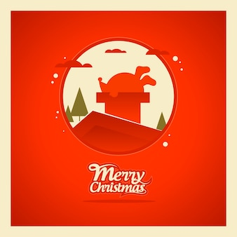 Papai noel preso na chaminé cartão de boas festas de natal