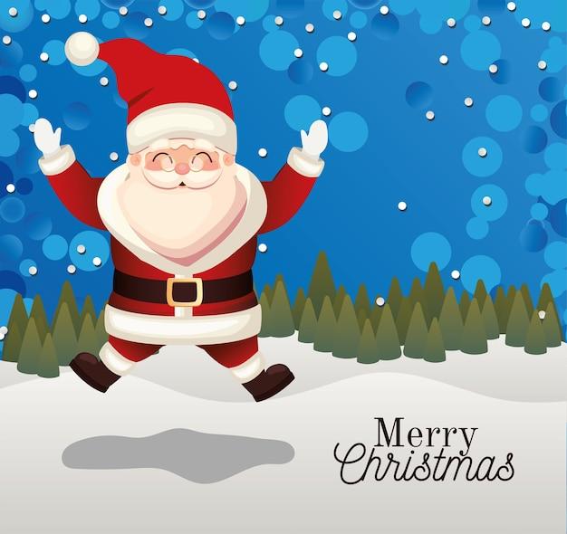 Papai noel pulando com letras de feliz natal em uma ilustração de fundo de floresta