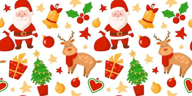 Papai noel, rena, árvore de natal, caixa de presente, padrão festivo