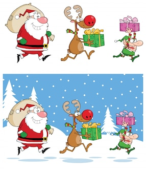 Papai noel, renas e elfo correndo na noite de natal
