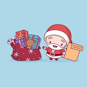 Papai noel se alegra com um saco de presentes e uma lista na mão.