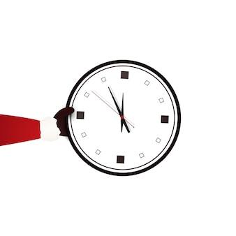 Papai noel segurando o relógio mostrando cinco minutos para a meia-noite. feliz natal.