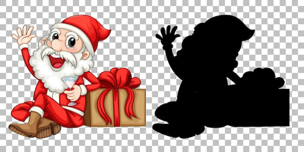 Papai noel sentado ao lado da caixa de presentes