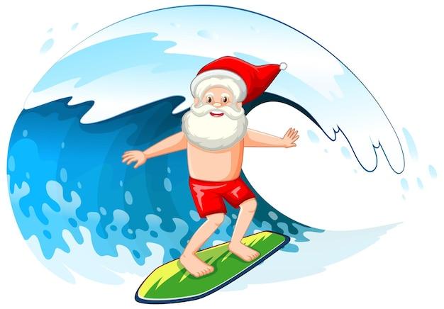 Papai noel surfando nas ondas do mar para o verão de natal