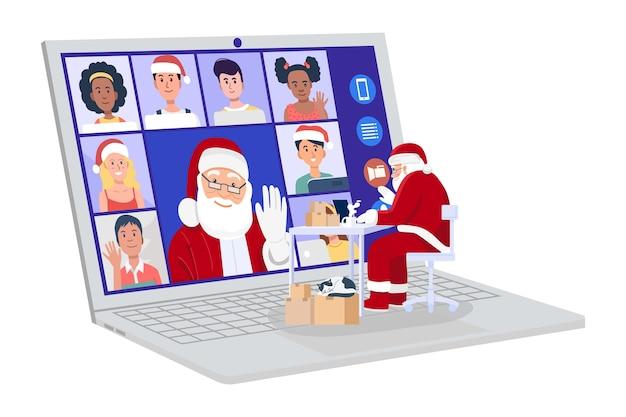 Papai noel tendo videoconferência no computador com crianças em casa.
