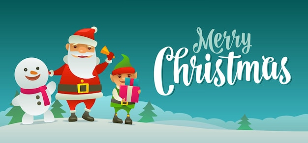 Papai noel toca a campainha, o boneco de neve acena com a mão, o elfo segura um presente. letras de caligrafia de feliz natal. ilustração do vetor de cor lisa. paisagem da floresta com colinas com pinheiro.