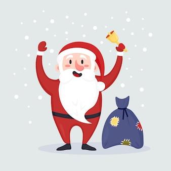Papai noel tocando um sino e um saco com presentes, presentes. neve caindo ao fundo. feliz natal e feliz ano novo