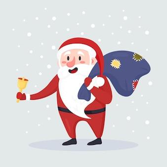 Papai noel tocando uma campainha, saco com presentes, presentes nas costas, neve caindo ao fundo. feliz natal e feliz ano novo