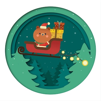 Papai noel urso kawaii de natal