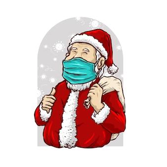 Papai noel usa uma máscara na ilustração da pandemia