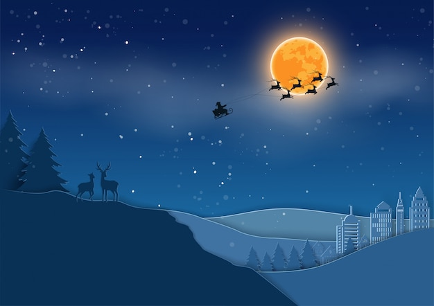 Papai noel vindo para a cidade na noite de inverno