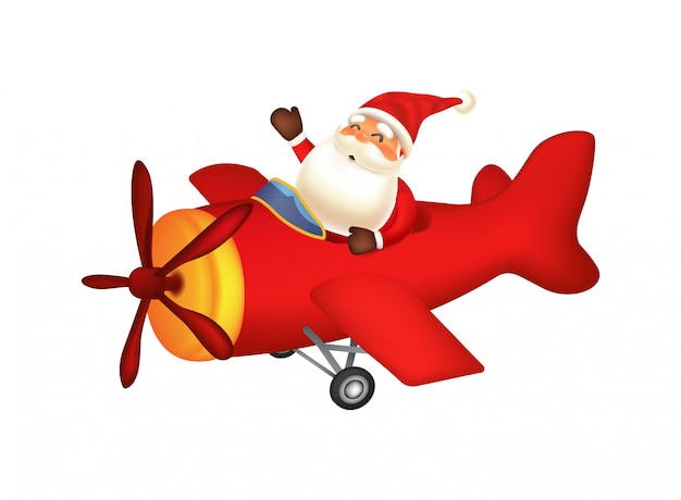 Papai noel voando com avião