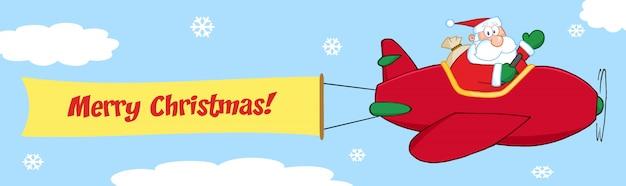 Papai noel voando no céu com o avião de natal e um banner em branco anexado com texto