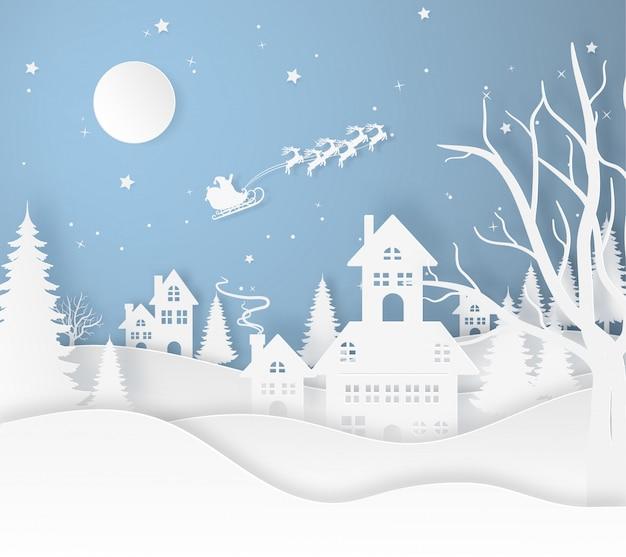 Papai noel voar na cidade e terra com neve