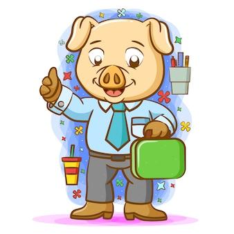 Papai porco trabalhando e usando a camisa com gravata azul