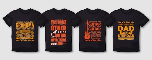 Papai vovó mãe e guitarra tipografia t shirt design pacote