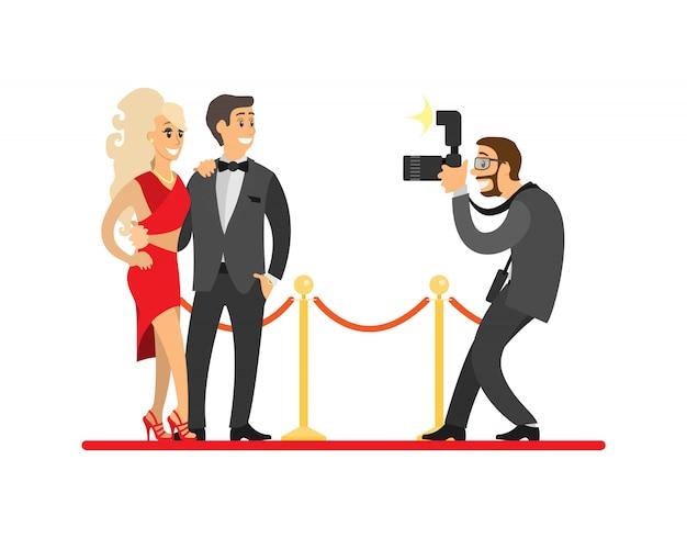 Paparazzi tirando foto de celebridades no tapete vermelho