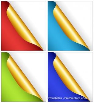 Papéis com curvas em diferentes cores