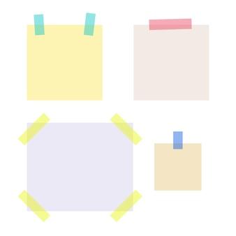 Papéis de anotação vazios presos com tiras de fita adesiva colorida. coleta de material escolar e de escritório. ilustração em vetor plana isolada no fundo branco