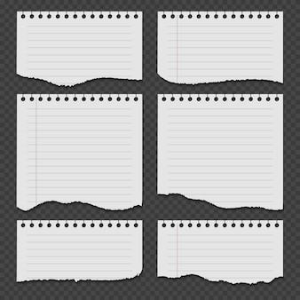 Papéis de caderno com rasgado