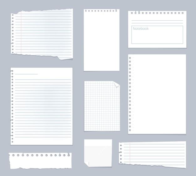 Papéis de nota. modelo de caderno de notas alinhadas conjunto de folhas de listra.