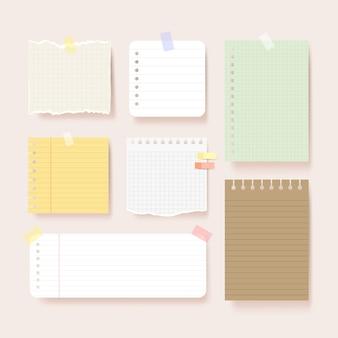 Papéis do álbum de recortes. ilustração das páginas do bloco de notas em branco. papel colado na parede com fita adesiva