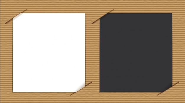 Papéis em preto e branco sobre papelão