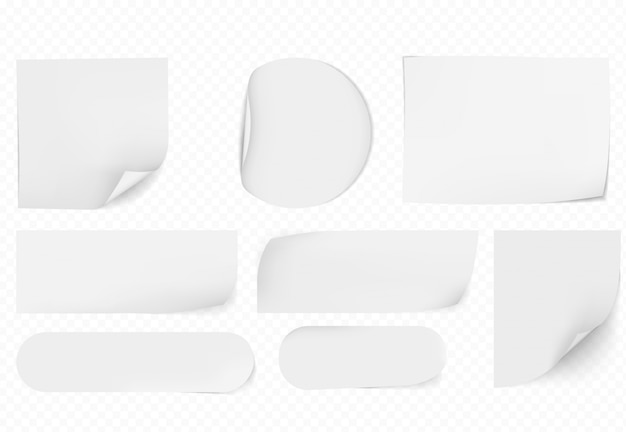 Papéis pegajosos em branco