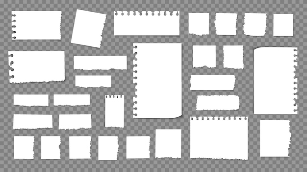 Papéis rasgados, pedaços de papel rasgados, pedaços de papel, pedaços de papel para recados. folha de memorando texturizada, fragmento de caderno. conjunto de pedaços de papel isolados