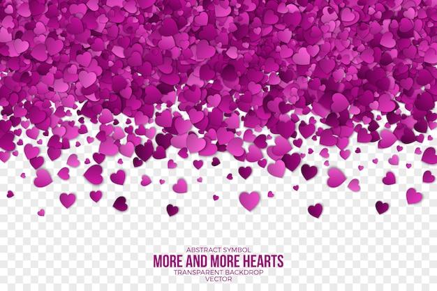 Papel 3d caindo corações abstrato