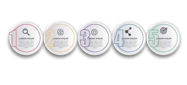 Papel 3d com modelo de design de infográfico de linha fina
