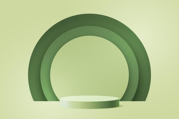 Papel 3d corta o fundo do modelo de forma geométrica mínima abstrata. pódio do cilindro verde em círculos verdes