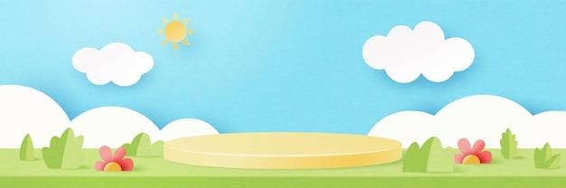 Papel 3d cortou o fundo do modelo de forma geométrica mínima abstrata. pódio do cilindro amarelo na cena da paisagem natural da temporada de verão. ilustração em vetor.