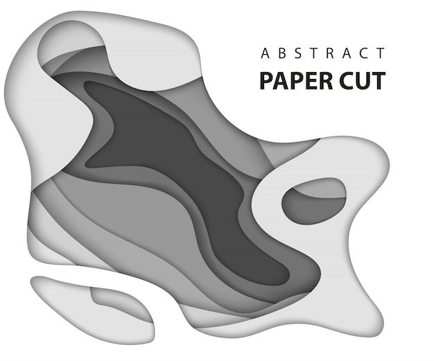 Papel abstrato branco e cinzento cortar fundo