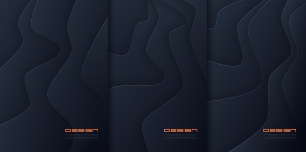 Papel abstrato corta fundos ondulados, designs de capa futuristas, modelos de brochura da moda. amostras globais.