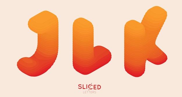 Papel abstrato cortado em fatias de letras com gradiente de cor