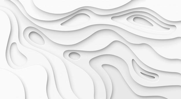 Papel abstrato cortado fundo branco. mapa de desfiladeiro topográfico textura de alívio de luz, camadas curvas e sombra.
