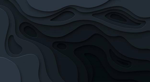 Papel abstrato cortado fundo preto. textura de relevo escuro do mapa topográfico com níveis curvos, buraco e sombra. conceito de vetor
