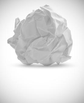 Papel amassado isolado no branco
