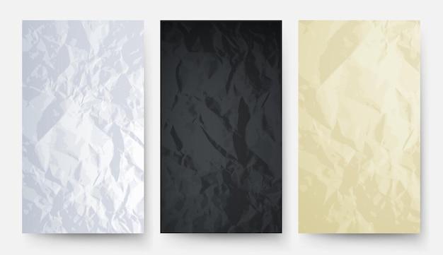 Papel amassado. textura de papelão branco preto amarelo