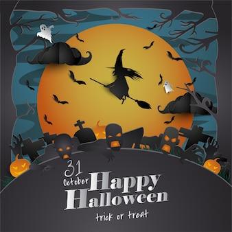 Papel arte cartão de dia das bruxas